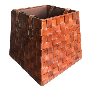 Italian Leather Basket, 1970s For Sale