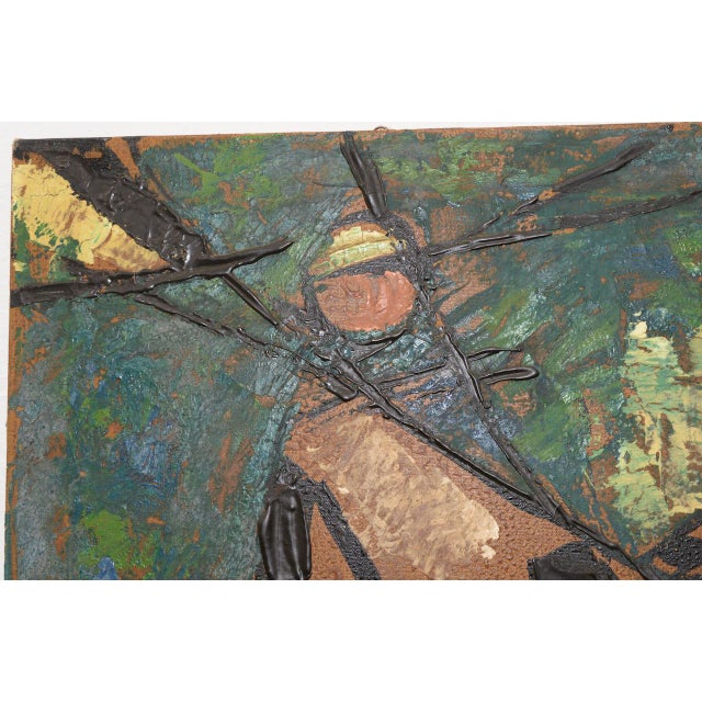 """Vintage Impasto """"Polo Match"""" Abstract Oil Painting C.1970s For Sale - Image 4 of 11"""