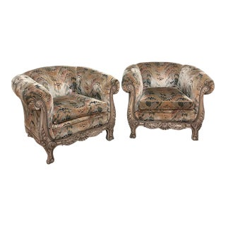 Pair French Walnut Hand Carved Louis XV Armchairs ~ Bergerès For Sale