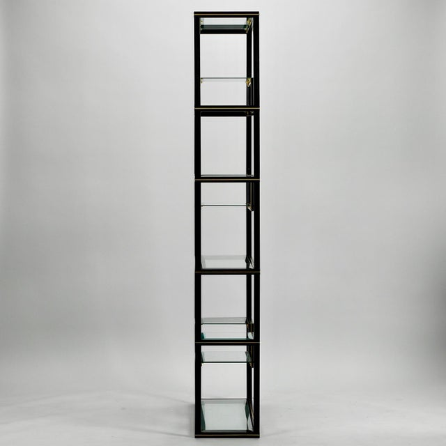 Mid Century Pierre Vandel Black Lacquer and Brass Etagere with Glass Shelves For Sale In Detroit - Image 6 of 9