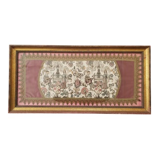 Antique French Framed Silk Embroidered Tapestry For Sale