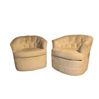 Milo Baughman Style Mid-Century Swivel Lounge Chairs - A Pair