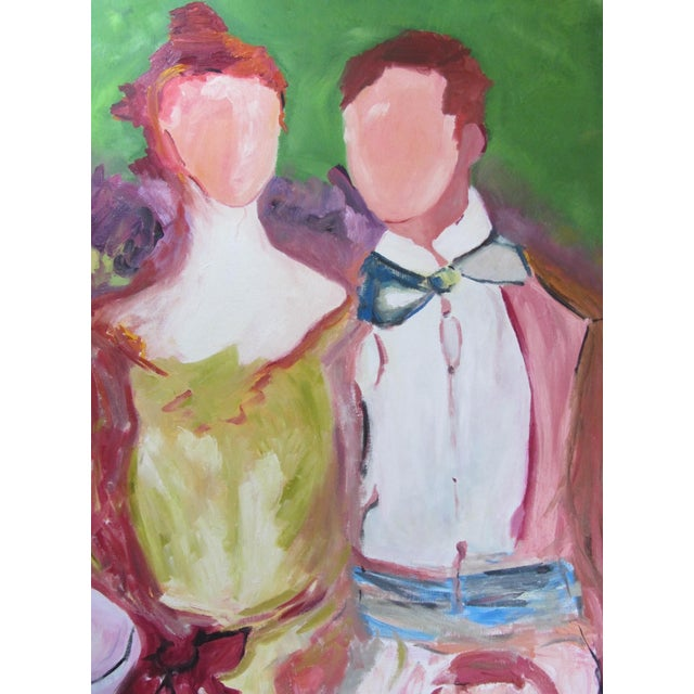 """""""Faceless Revelers"""" Oil on Canvas Painting - Image 2 of 6"""