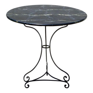 Faux Marble Top Garden Bistro Center Table For Sale