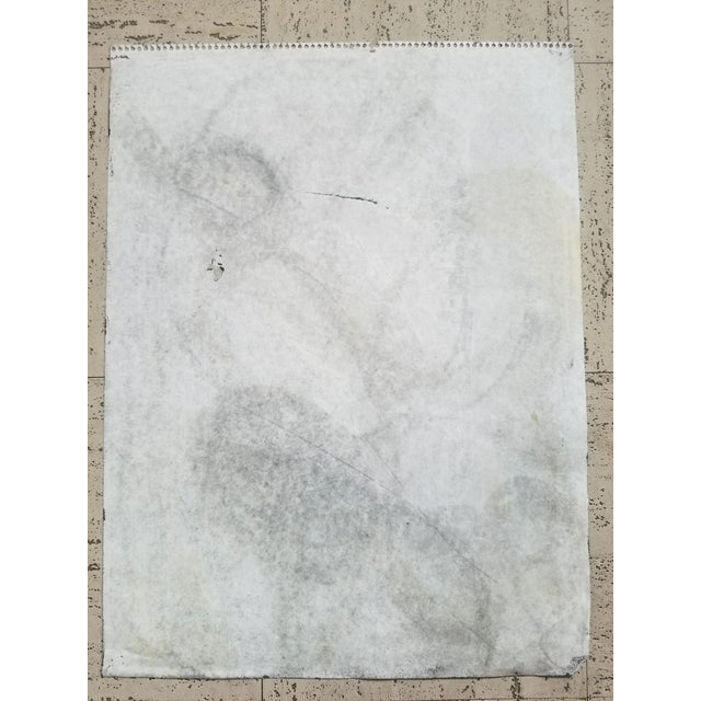 This black, gray and white pastel and charcoal abstract drawing on artist paper is part of an extensive collection of art...