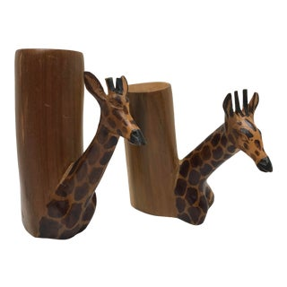 1960s Kenyan Giraffe Candle Holders - a Pair For Sale