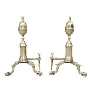 Antique American Brass Andirons, Circa 1820 For Sale