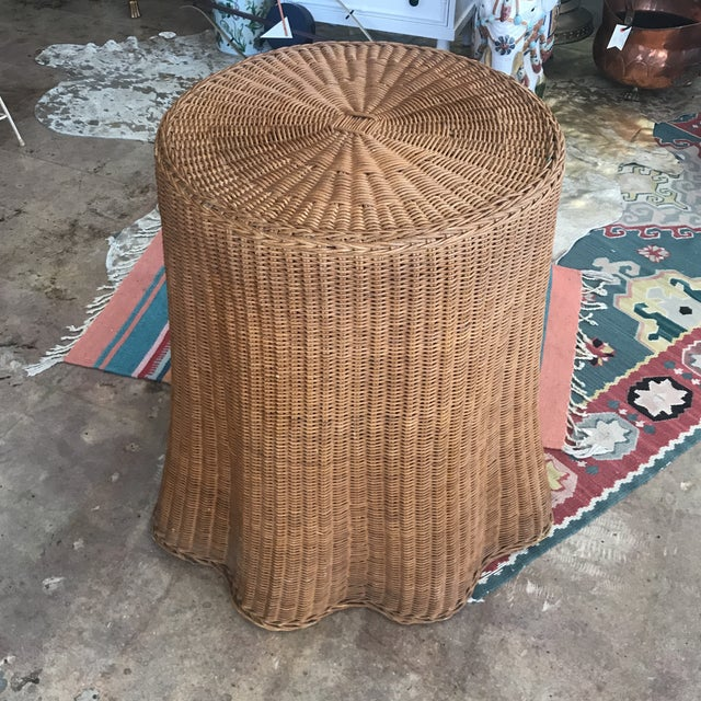 Mid Century Wicker Trompe L'oeil Draped Ghost Table - Image 8 of 8