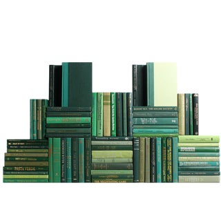 Modern Boxwood Book Wall : Set of Seventy Five Decorative Books For Sale