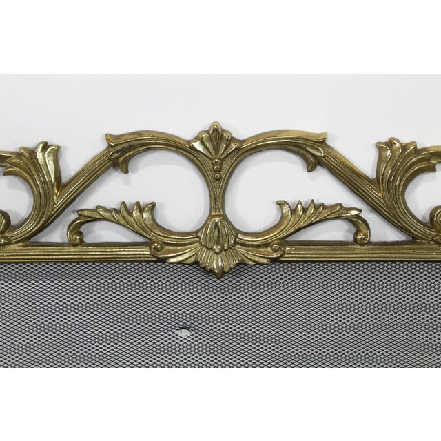 Vintage Solid Brass Fireplace Screen For Sale - Image 4 of 6