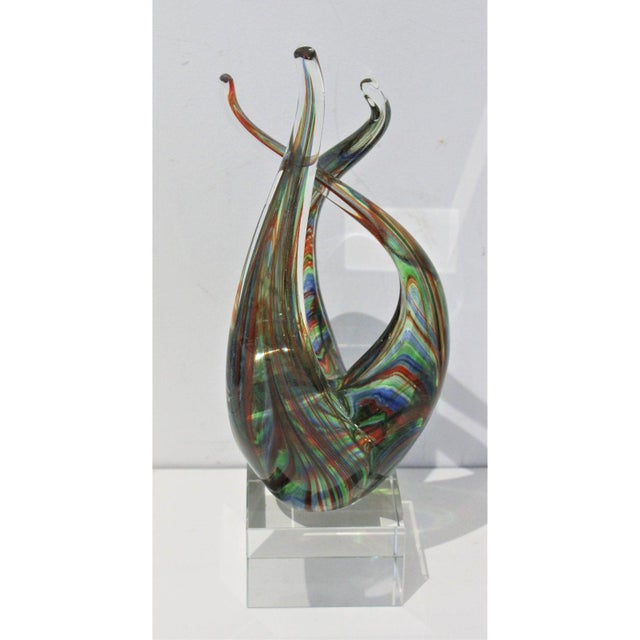 "Late 20th Century Vintage Lucite Base ""Flame"" Sculpture Multicolored Glass Murano Style For Sale - Image 5 of 12"