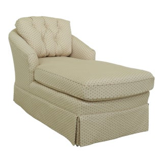 Tufted Back Off White Upholstered Chaise Lounge For Sale