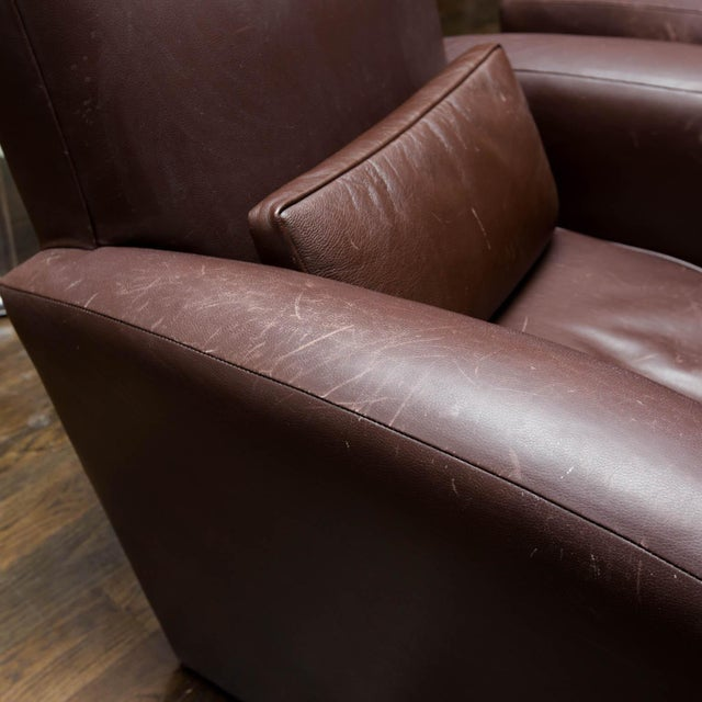 Holly Hunt Brown Leather Swivel Chairs - Image 2 of 11