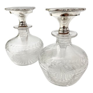 Pair of Cut and Etched Glass Perfume / Scent Bottles With Sterling Stoppers For Sale