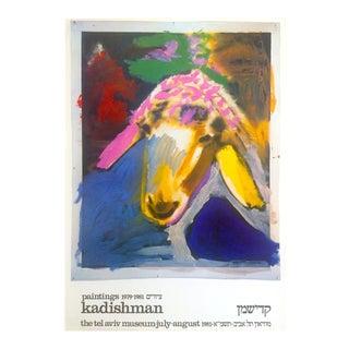 Vintage 1981 Menashe Kadishman Original Lithograph Print Pop Art Exhibition Poster For Sale
