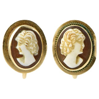 Victorian Shell Cameo & Gold Earrings For Sale