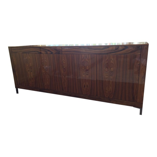 Modern Rosewood Side Board With Metal Legs For Sale