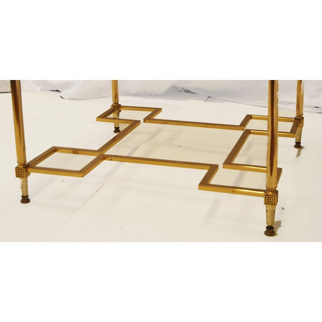 Hollywood Regency Brass Glass Top End Side Table - Image 5 of 6
