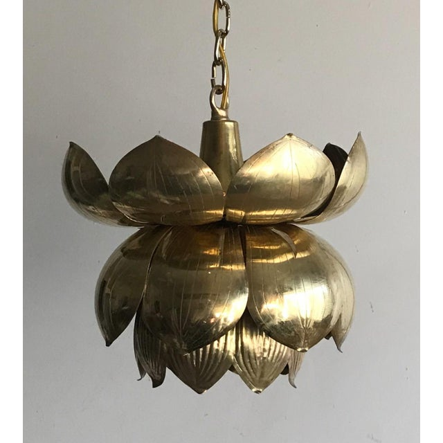 1970s 1970s Brass Lotus Blossom Chandelier Pendant For Sale - Image 5 of 5
