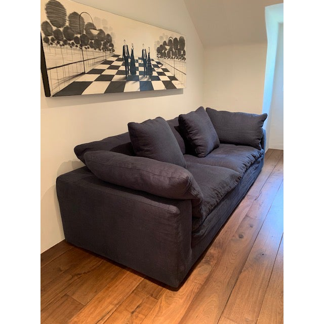 Restoration Hardware Navy Cloud 2 Seat Down Sofa For Sale - Image 11 of 13
