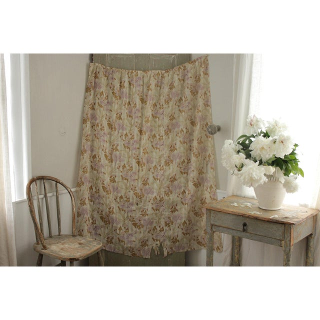 Antique French Art Nouveau Light Weight Cotton Roller Print Floral Sheer Fabric For Sale - Image 6 of 12