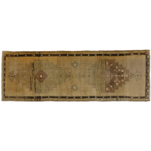"Vintage Turkish Oushak Brown Runner - 3'7"" X 10'5"" For Sale"