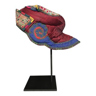 Early 20th Century Chinese Minority Embroidered Hat For Sale