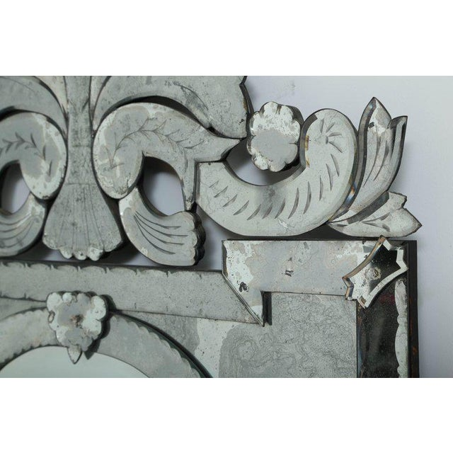 Art Deco 1940s Monumental Venetian Mirror with Hand Etched Designs For Sale - Image 3 of 9