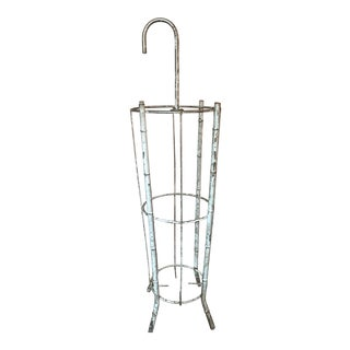 1960s Vintage Hand-Distressed Chrome Faux Bamboo & Wire Umbrella Stand For Sale