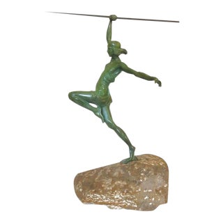 Art Deco Style Bronze Female Roman Warrior With Spear on Carved Stone For Sale