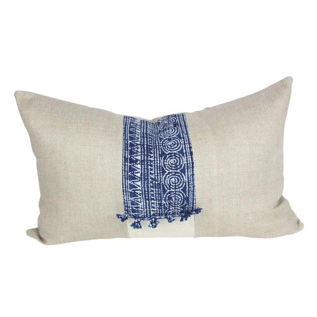 Indigo Batik Linen Pillows - A Pair - Image 3 of 5