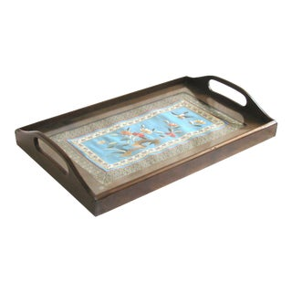Asian Silk Textile Tray For Sale