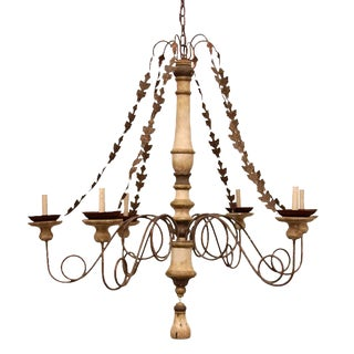 San Isidro Carved Wood Six Candle Chandelier