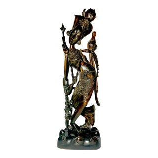 "Vintage 19""Tall Balinese Exotic Ebony Wood Dancer Statue For Sale"