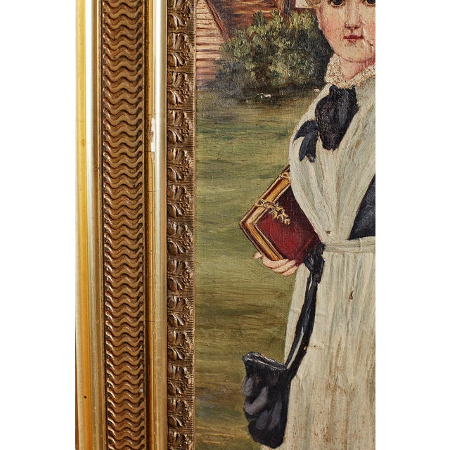 19th Century Folk Art Painting of a Young Girl For Sale - Image 9 of 13