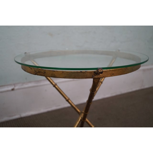 Vintage Gilt Metal Faux Bamboo Side Table For Sale - Image 4 of 10