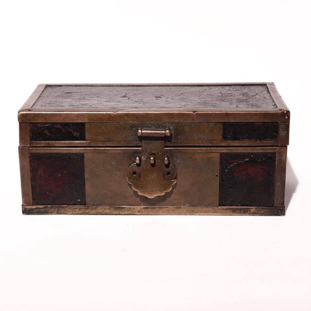 Chinese Late 19th Century Chinese Brass and Lacquered Wood Storage Box For Sale - Image 3 of 9