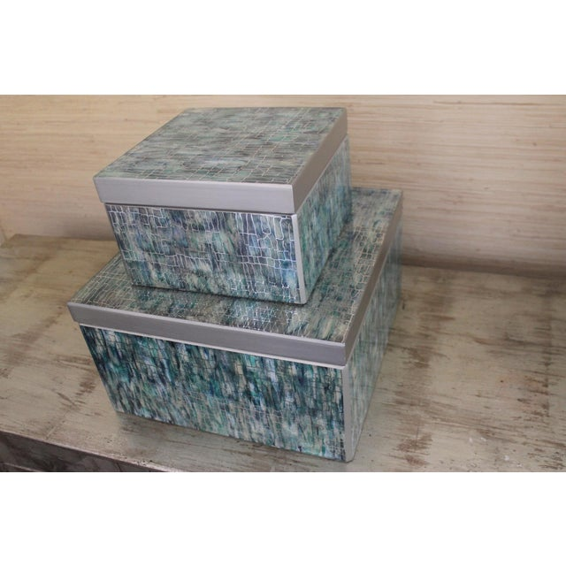 Peruvian Reverse Glass Boxes - a Pair For Sale - Image 4 of 13