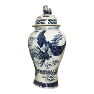 "Mansion Size Chinoiserie Blue & White Porcelain Ginger Jar 35"" H For Sale"
