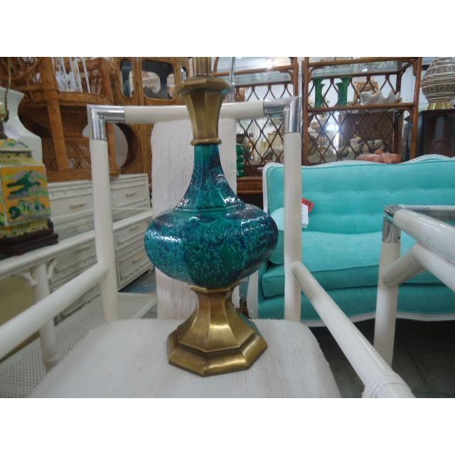 Mid-Century Turquoise Glazed Lamp - Image 3 of 9