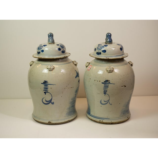 Antique Blue & White Ginger Jars - A Pair - Image 3 of 9