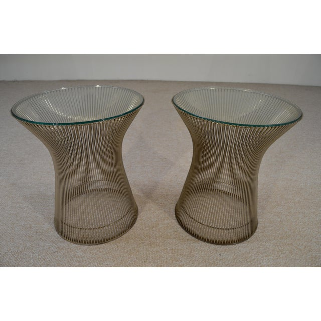 Warren Platner for Knoll Nickel & Glass Side Tables - A Pair - Image 3 of 5