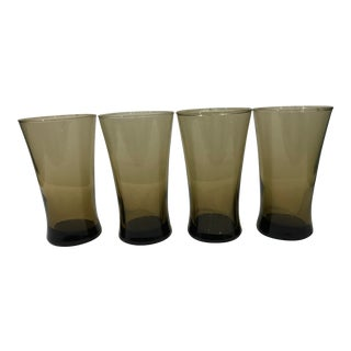 Smokey Brown Glass Tumblers - Set of 4 For Sale