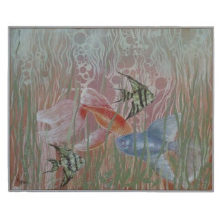 Extra Large 1980s Art Deco Tropical Fish Painting For Sale