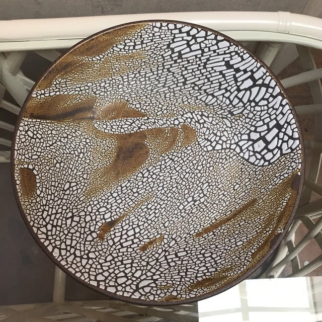 """Stunning ceramic Bowl with crackled """"lizard skin"""" finish. California artist Pat Husted created this piece for a show in 2015"""