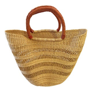 "Saint -Tropez Style African Basket 18"" H by 21"" W For Sale"