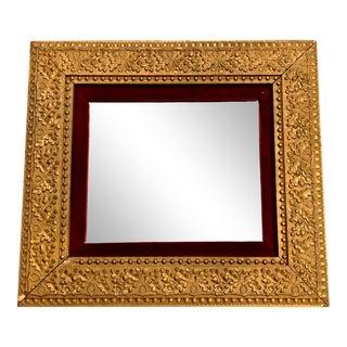 Hollywood Regency Gilt Accent Wall Mirror Red Velvet For Sale