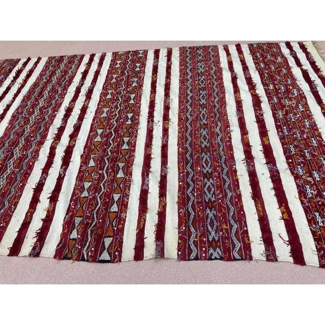 Red Moroccan Vintage Tribal Kilim Handira Rug, circa 1960 For Sale - Image 8 of 13