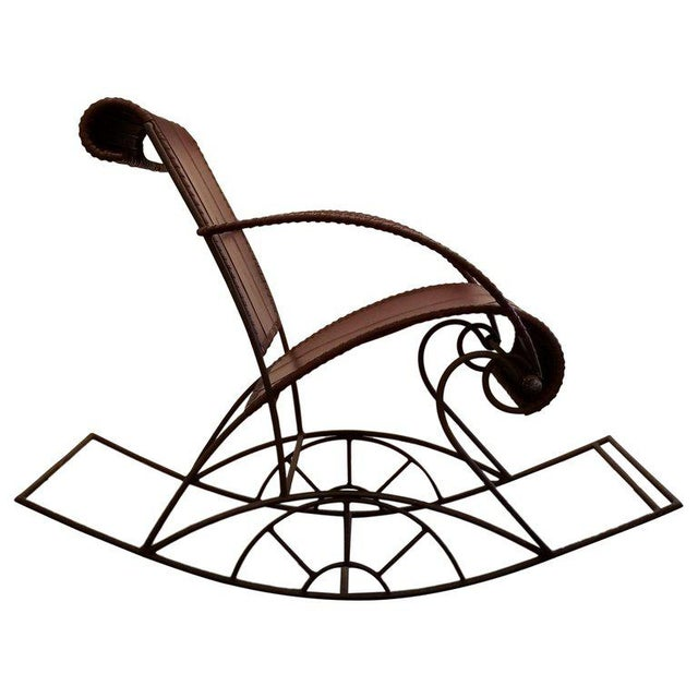 Industrial Iron and Leather Rocker For Sale - Image 13 of 13