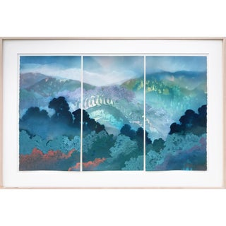 Triptych Watercolor & Gouache Landscape Painting by Martin Green For Sale